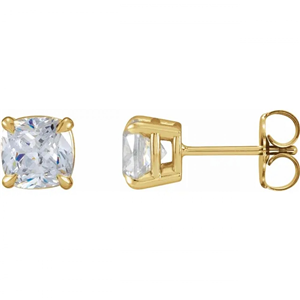 Cushion Diamond Stud Earrings 14K Yellow Gold (2.05 Ct,G Color,Vs1 Clarity Gia Certified)