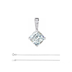Asscher Diamond Solitaire Pendant Necklace 14K White Gold (0.91 Ct,E Color,Vs1 Clarity) Gia Certified