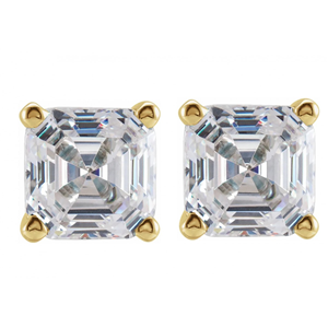 Asscher Diamond Stud Earrings 14K Yellow Gold (2.62 Ct,D Color,Vs1-Vs2 Clarity Gia Certified)