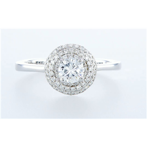 14K White Gold Round Diamond & Pave Multi-Stone Prong Set Engagement Ring (0.68 Ct D Vvs2 Clarity)
