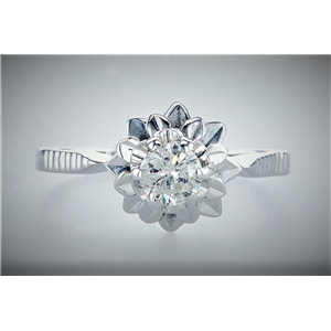 14K White Gold Round Diamond Solitaire Flower Prong Set Engagement Ring (0.45 Ct,F Color,Si3 Clarity)