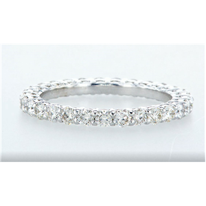14K White Gold Round Diamond Multi-Stone Prong Set Wedding Band (1.5 Ct,E-F Color,Vvs1-Vs2 Clarity)