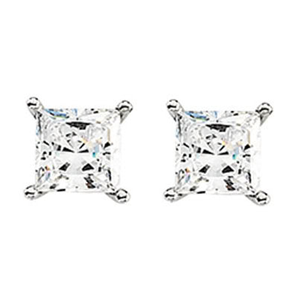 Princess Diamond Stud Earrings 14k  (0.56 Ct, H-I Color, I1-I2 Clarity)