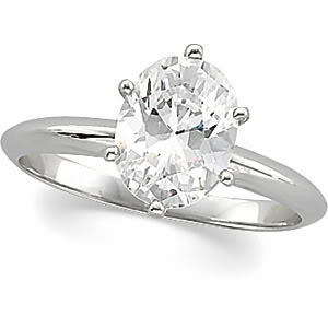 Oval Diamond Solitaire Engagement Ring 14k White Gold (0.7 Ct, G Color, SI2 Clarity) IGL Certified
