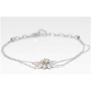Flower Multi-Stone Round Cut Prong Set Chain Bracelet With Lobster Clasp
