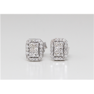 14K White Gold Round Diamond Framed Prong Set Push Back Stud Earrings (0.65 Ct,D-F Color,Vs-Si Clarity)
