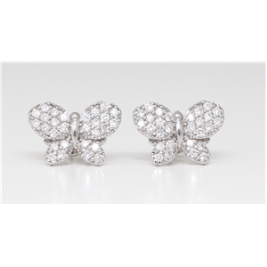 14K White Round Diamond Pave Butterfly Multi-Stone Prong Set Push Back Studs (0.59 Ct D-F Vs-Si Clarity)