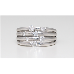 14K White Gold Round Diamond Multi-Row Prong Set Multi-Stone Engagement Ring (0.8 Ct D-F Color Vs-Si Clarity)