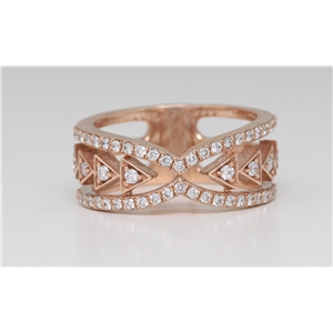 14K Rose Gold Round Diamond Multi-Row Triangle Prong Set Multi-Stone Ring (0.62 Ct D-F Vs-Si Clarity)