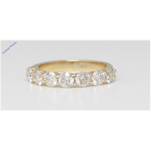 14K Yellow Gold Round Diamond Multi-Stone Prong Set Half-Eternity Engagement Ring (1 Ct G-H Vvs Clarity)