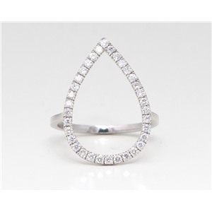 14K White Gold Round Diamond Teardrop Multi-Stone Prong Set Ring (0.4 Ct,D-F Color,Vs-Si Clarity)