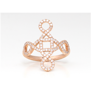 14K Rose Gold Round Diamond Square And Loops Multi-Stone Prong Set Ring (0.8 Ct,D-F Color,Vs-Si Clarity)