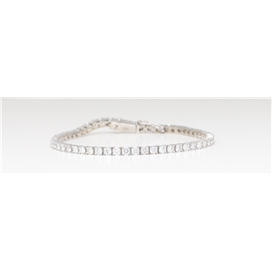 14K White Round Diamond Multi-Stone Tennis Bracelet With Secure Box Clasp (3.85 Ct D-F Vs-Si Clarity)