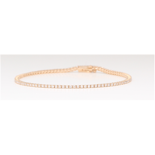 14K Rose Gold Diamond Multi-Stone Prong Tennis Bracelet With Secure Box Clasp (1.1 Ct D-F Vs-Si Clarity)
