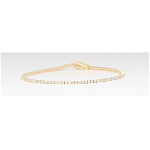 14K Yellow Gold Diamond Multi-Stone Tennis Bracelet With Secure Box Clasp (1.1 Ct D-F Vs-Si Clarity)