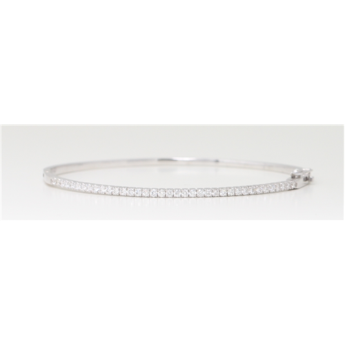 14K White Gold Round Diamond Multi-Stone Prong Set Bangle With Hinge Clasp (0.75 Ct D-F Color Vs-Si Clarity)