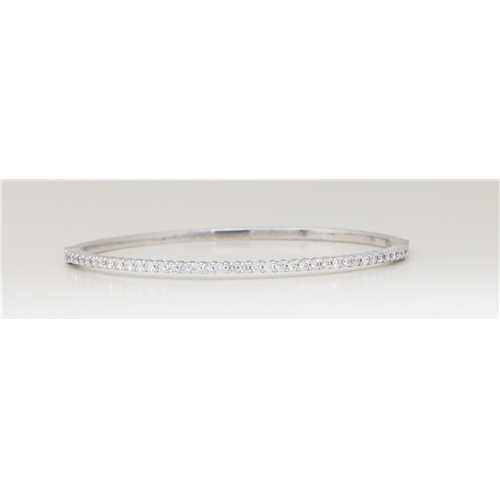 14K White Gold Round Diamond Multi-Stone Prong Set Bangle With Hinge Clasp (1.25 Ct D-F Color Vs-Si Clarity)