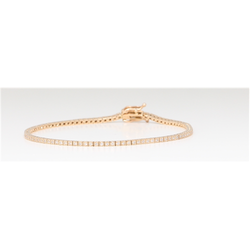 14K Rose Gold Diamond Multi-Stone Prong Tennis Bracelet With Secure Box Clasp (0.6 Ct D-F Vs-Si Clarity)