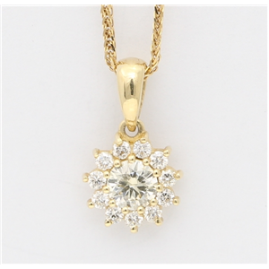 14K Yellow Gold Round Cut Diamond Multi-Stone Prong Set Flower Shape Pendant (0.42 Ct,I-J Color,Si Clarity)