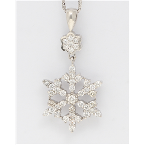 14K White Gold Round Diamond Multi-Stone Prong Set Snowflake And Flower Pendant (1.01 Ct D-F Vs-Si Clarity)