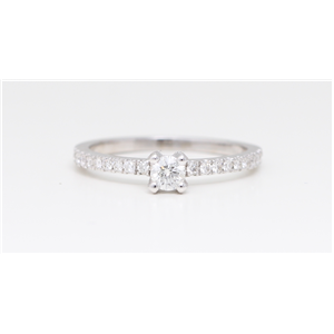 14K White Gold Round Diamond Solitaire Prong Set Pave Shoulder Set Engagement Ring (0.48 Ct H-J Si Clarity)