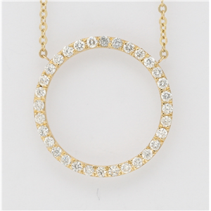 14K Yellow Gold Round Diamond Multi-Stone Prong Set Circle Shape Necklace (0.6 Ct,D-F Color,Vs-Si Clarity)