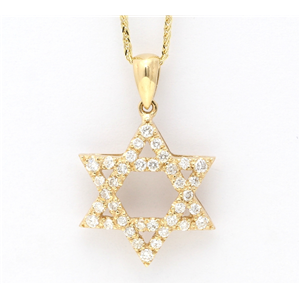 14K Yellow Gold Round Cut Diamond Multi-Stone Prong Set Star Of David Pendant (0.55 Ct,D-F Color,Si Clarity)