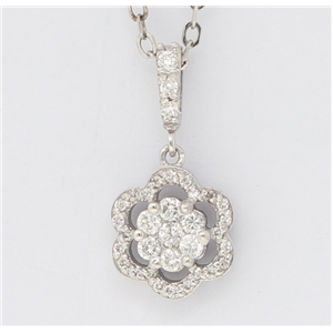 14K White Gold Round Diamond Multi-Stone Prong Set Double Flower Pendant (0.3 Ct,D-F Color,Vs-Si Clarity)