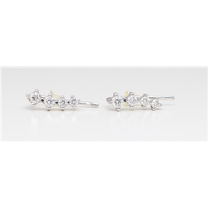 14K White Gold Round Diamond Four-Stone Prong Set Journey Stud Earrings (0.52 Ct,D-F Color,Vs-Si Clarity)