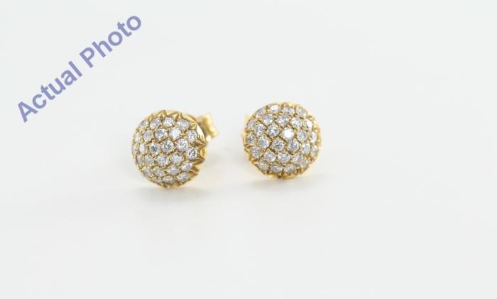 18k Yellow Gold Round Cut Pave Setting Multi Stone Diamond Stud Earrings 0 43 Ct E Color Vvs Clarity