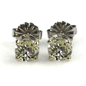 Round Diamond Stud Earrings 14k White Gold (1.1 Ct, Natural Fancy Yellow Color, VS1-VS2 Clarity)