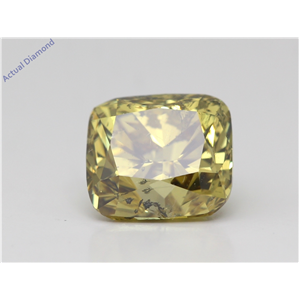 Cushion Loose Diamond (2.06 Ct,Fancy Greenish Yellow Color, I1) Gia