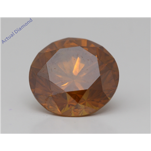 Round Cut Loose Diamond (4.43 Ct,Fancy Vivid Orange(Hpht) Color,Si2(Drilled) Clarity) Aig Certified