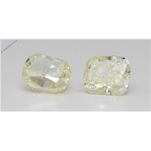 A Pair Of Cushion Cut Loose Diamonds (4.14 Ct,Fancy Light Yellow Color,Vs1-Si1 Clarity) Gia Certified