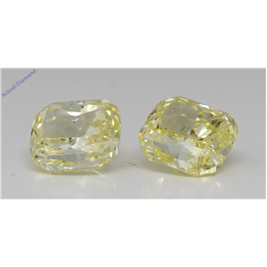 A Pair Of Cushion Cut Loose Diamonds (3.23 Ct,Fancy Intense Yellow Color,Si2 Clarity) Gia Certified