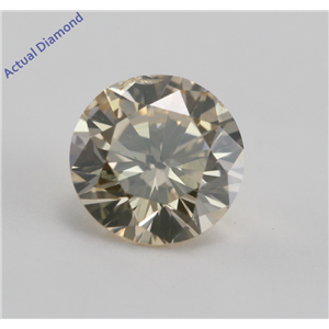 Round Cut Loose Diamond (0.71 Ct, Natural Orange Light Brown, SI2)