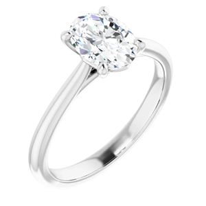 Oval Diamond Solitaire Engagement Ring,14K White Gold (0.72 Ct,G Color,Vvs1 Clarity) Igl Certified