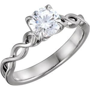 Round Diamond Solitaire Engagement Ring 14K White Gold 0.52 Ct,(H Color,Si3-I1 Clarity)
