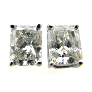 Radiant Diamond Stud Earrings 14k White Gold (1.21 Ct, K Color, SI Clarity)