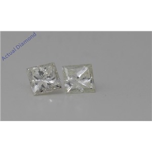 A Pair of Princess Cut Loose Diamonds 0.64 Ct,J Color,SI2 Clarity