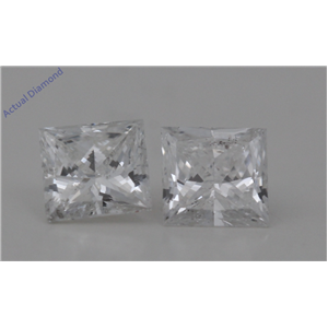 A Pair of Princess Cut Loose Diamonds 0.63 Ct,F Color,I1 Clarity
