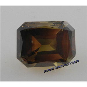 Emerald Cut Loose Diamond (3.27 Ct, Natrual Fancy Dark Greenish Yellow Brown ,SI2) GIA Certified