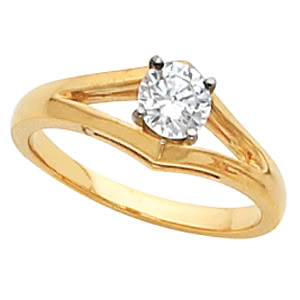 Round Diamond Solitaire Engagement Ring 14k  ( 0.51 Ct, E Color, VS1 Clarity GIA Certified)