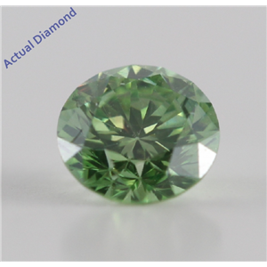 Round Cut Loose Diamond (0.51 Ct, Olive Green(Color Irradiated) ,SI1(Clarity Enhanced))