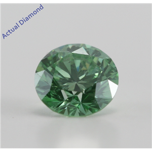 Round Cut Loose Diamond (0.57 Ct, Olive Green(Color Irradiated) ,SI2)