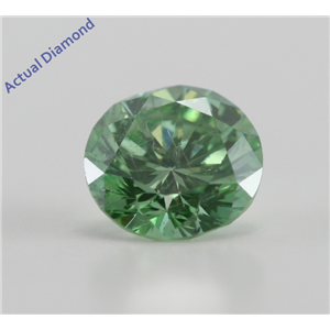 Round Cut Loose Diamond (0.72 Ct, Olive Green(Color Irradiated) ,SI2(Clarity Enhanced))