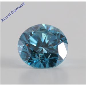 Round Cut Loose Diamond (0.8 Ct, Nice Blue(Color Irradiated) ,SI1(Clarity Enhanced))
