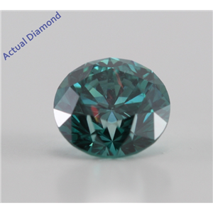Round Cut Loose Diamond (0.78 Ct, Greenish Blue(Color Irradiated) ,SI1(Clarity Enhanced))