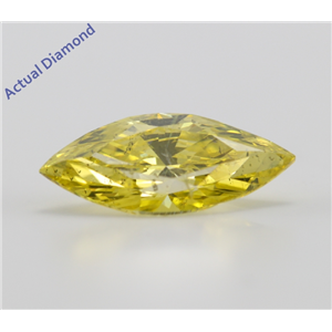 Marquise Cut Loose Diamond (2.55 Ct, Canary Yellow(Color Irradiated), SI2(Clarity Enhanced,Laser Drilled))