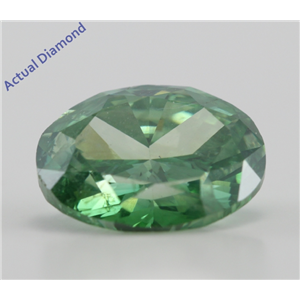 Oval Cut Loose Diamond (4.01 Ct, Forest Green(Color Irradiated) ,SI2(Clarity Enhanced))